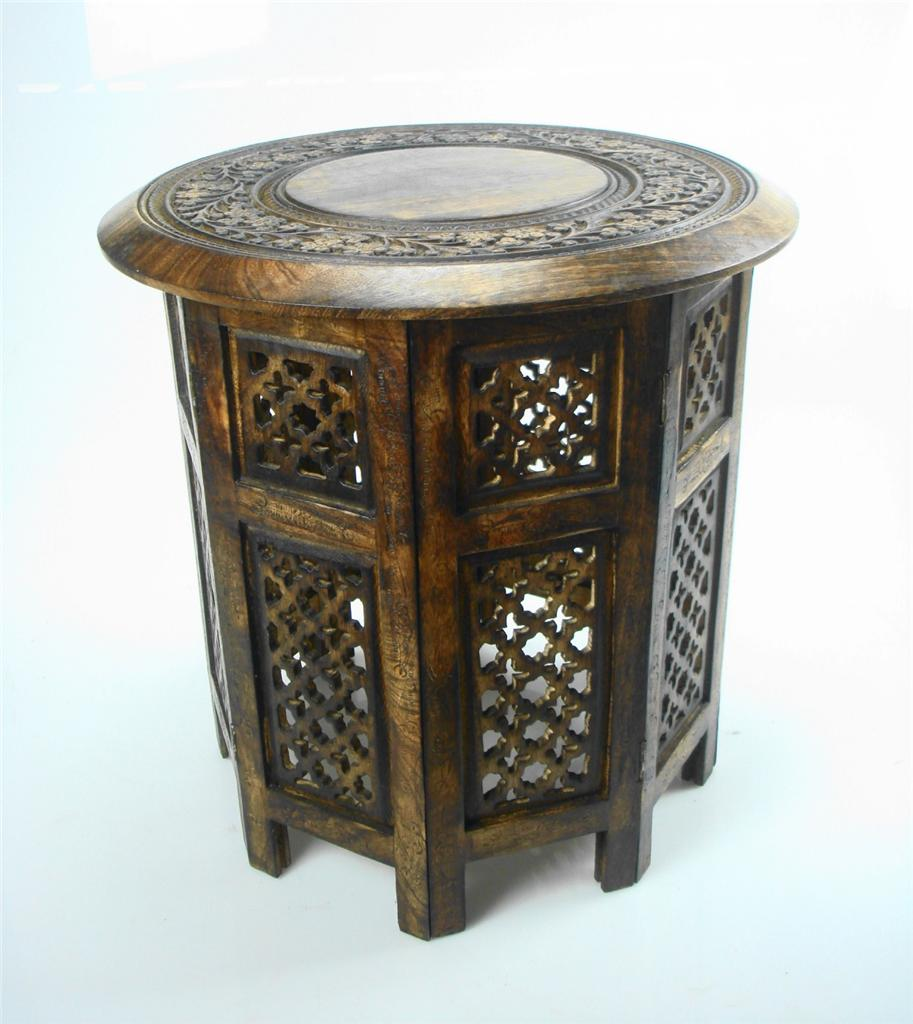 Round Coffee Table Standard Size: Beautiful Round Brown White Hand Carved Indian Shesham